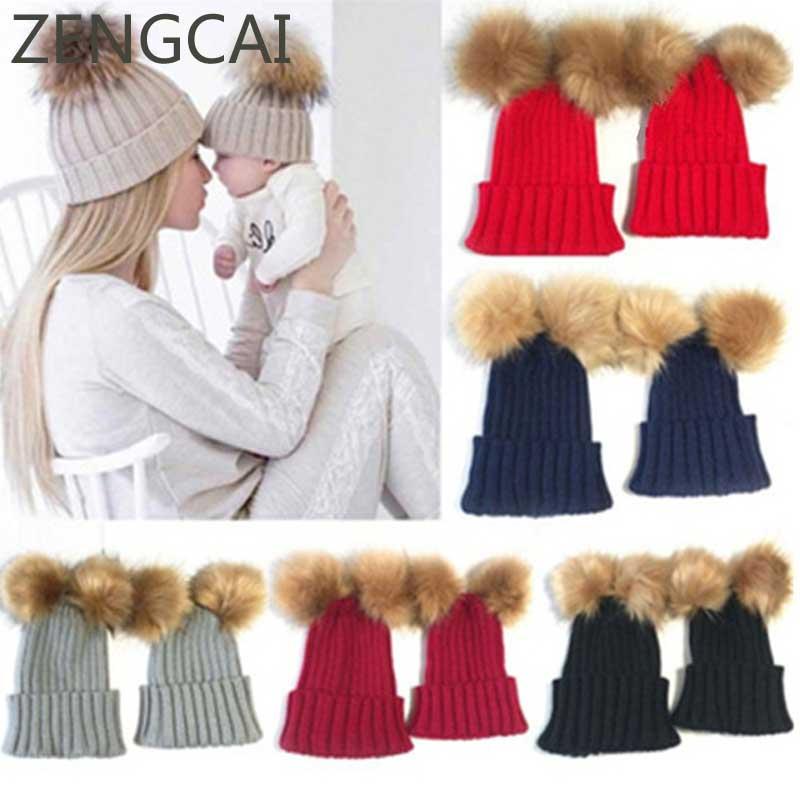 Kids Two Faux Fur Pom Pom Hat Women Winter Woolen   Beanie   Cap Girls Boys Cute Knitted Hat Adult Soft   Skullies     Beanies   Warm Caps