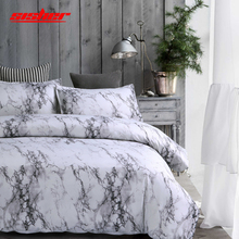 Sisher Marble Printed Duvet Cover Set Single Double Queen King Size Bedclothes Comforter Quilt Covers White