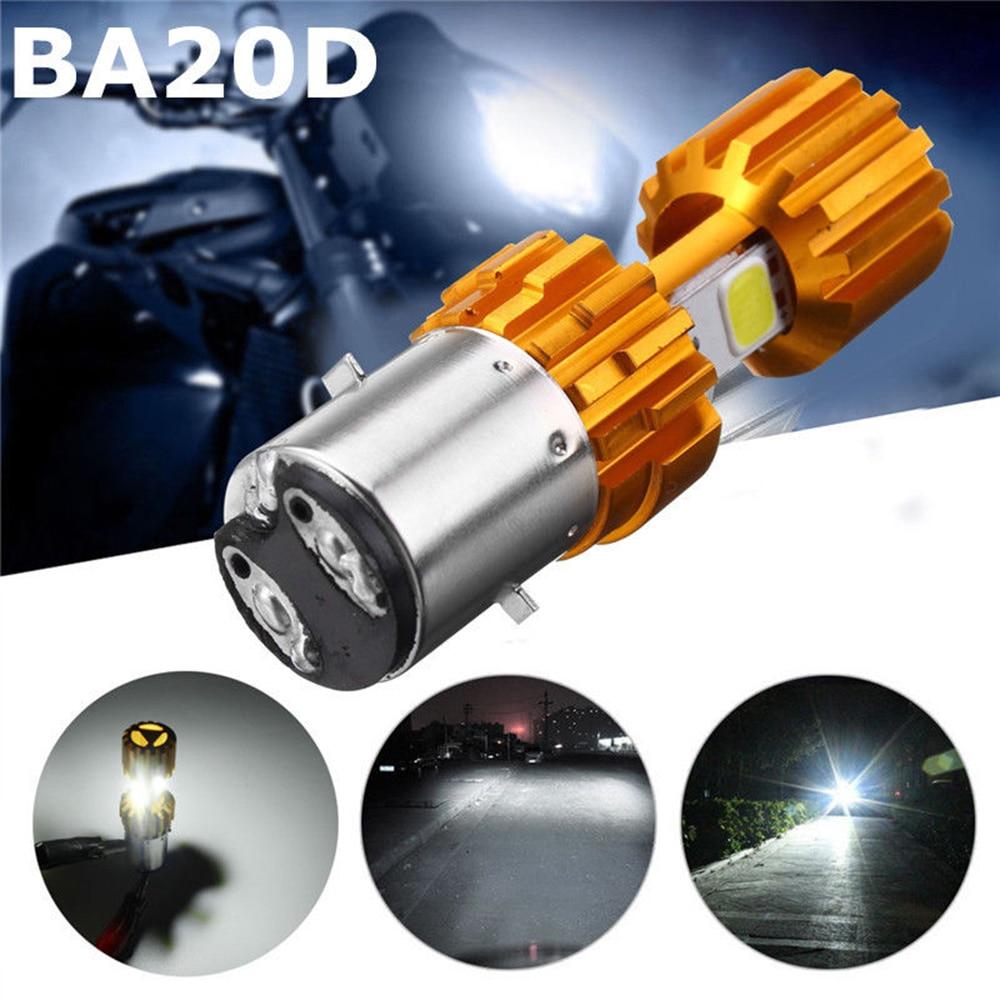 BA20D LED COB Motorcycle Bike Hi/Lo Headlight Lamp Bulb 6500K WhiteDC12-24V