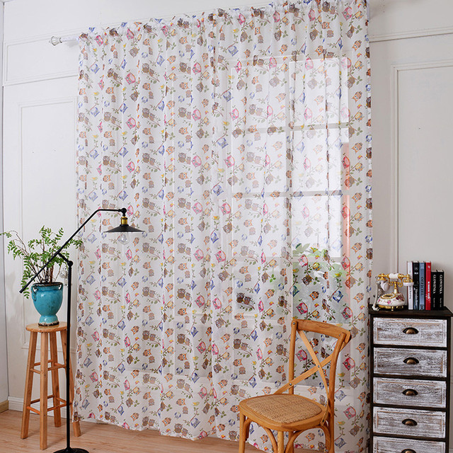 Transparent Voile Curtains Printing Animal Kitchen Sheer Valances Window  Curtain For Bedroom Living Room Owl Pattern