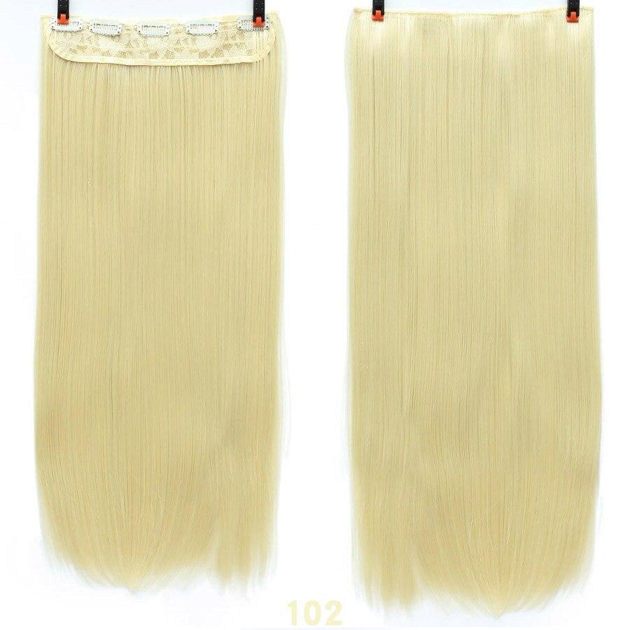 SHANGKE волосы 24 ''длинные прямые женские волосы на заколках для наращивания черный коричневый высокая температура Синтетические волосы кусок - Цвет: 102