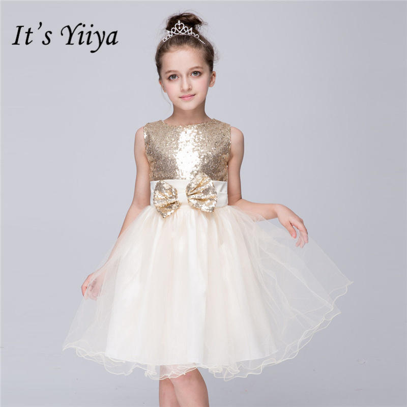 It's yiiya Bling Sequined   Flower     Girl     Dresses   Pure Color Princess Ball Grown O-neck Bow   Girls     Dress   TS163
