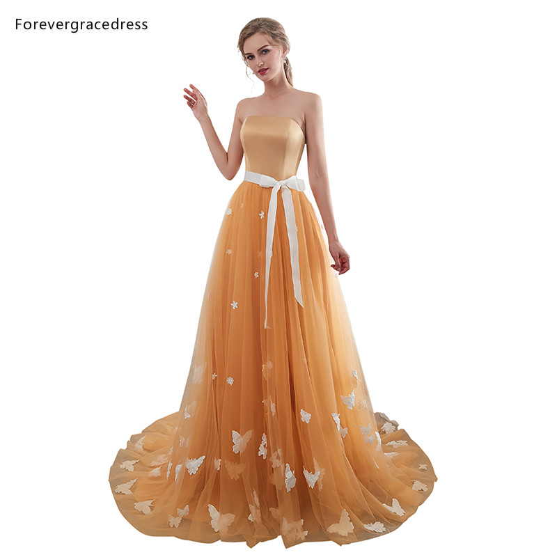 Forevergracedress Gold   Prom     Dresses   2019 High Quality Strapless Backless Sleeveless Evening Party Gowns Plus Size Custom Made