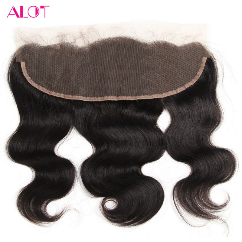 ALot Hair Peruvian Lace Frontal Closure Body Wave 13x4 Ear To Ear Non Remy Human Hair Closure With BaBy Hair Pre Plucked