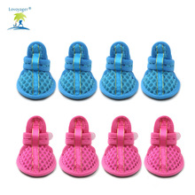 Spring Summer Pet Dog Batai Tinklelis Sandals 4Pcs / lot Neslidus Pet Batai Chihuahua Yorkshire Pink / Blue Lovoyager