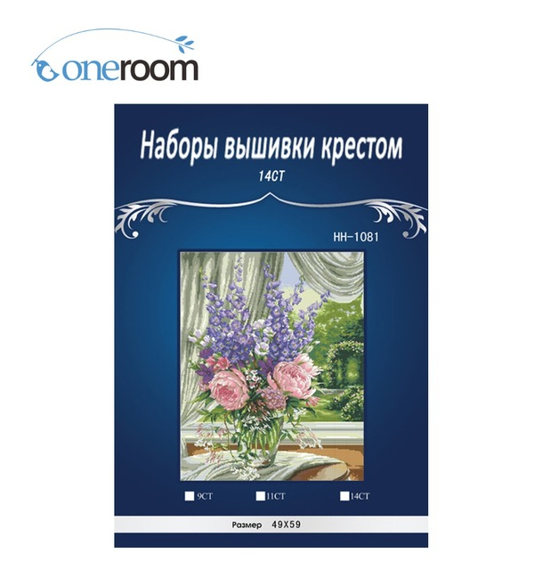 top Quality lovely counted cross stitch kit peony and delphinium, Peonies and Delphiniums flowers dim 35257
