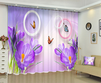 Park corridor landscape bamboo forest curtain photo shade curtain butterfly purple fashion 3D curtain