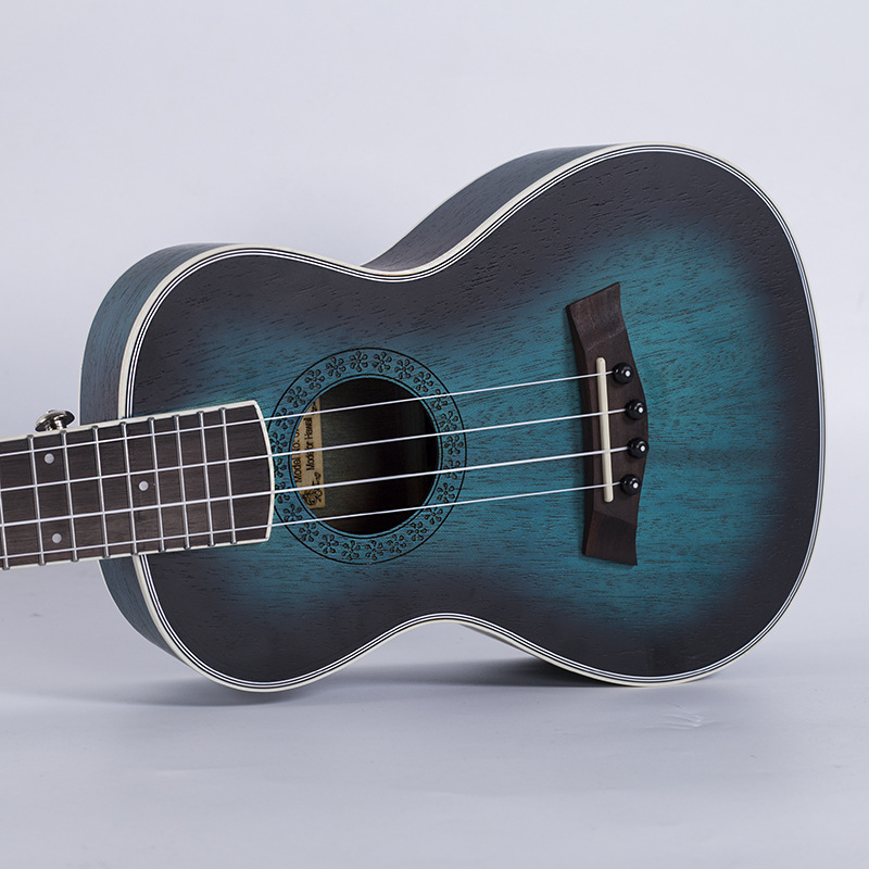 Acoustic Electric Concert Ukulele 23 Inch Hawaiian Guitar 4 Strings Ukelele Guitarra Mahogany Handcraft Blue Musical Uke concert ukulele 23 inch hawaiian guitar 4 strings ukelele guitarra handcraft zebra wood musical instruments uke