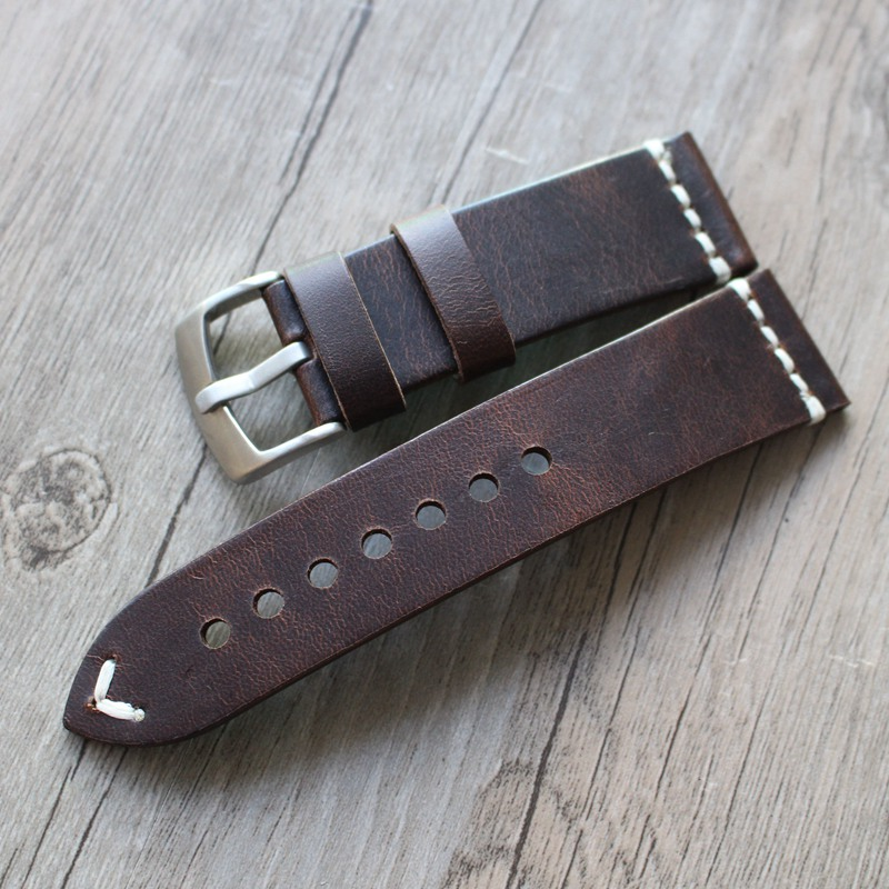 все цены на High Quality Watch Accessories 18mm 19mm 20mm 21mm 22 mm Watchband Vintage Style Genuine Leather Strap Watch Band For IWC omega онлайн