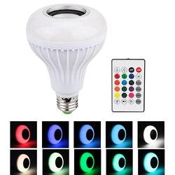 E27 inteligente rgb rgbw sem fio bluetooth alto-falante bulbo música jogando pode ser escurecido lâmpada led com 24 teclas de controle remoto