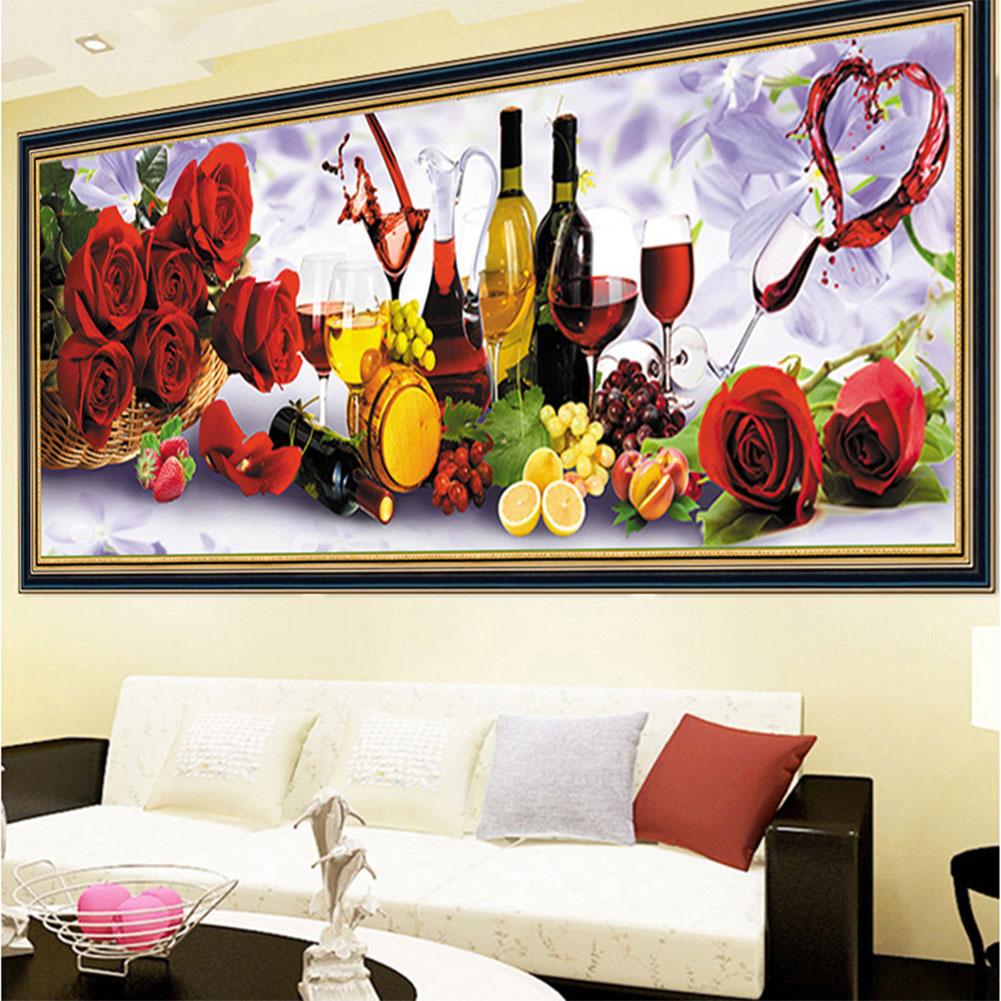 Vinho E Rosa 5D Diy Pintura Diamante do Ponto da Cruz de Diamante Quadrado Bordado Diamante Mosaic Pictures Needlework 30X75 cm
