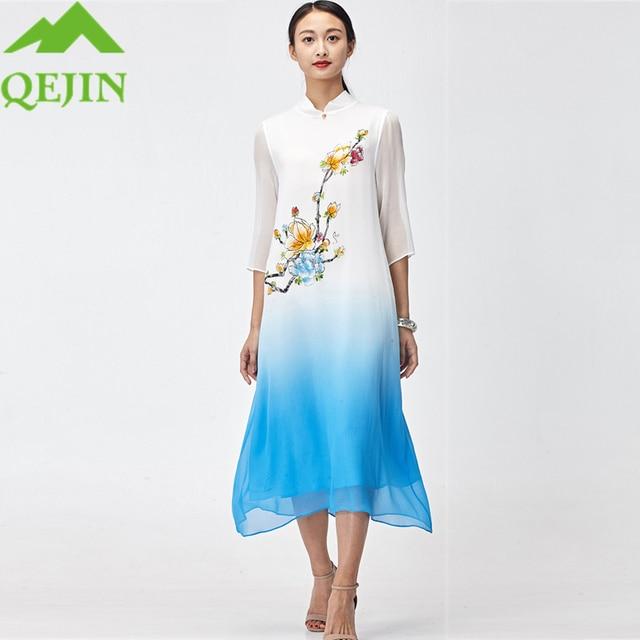 2018 summer Chinese dresses plus size vestido floral sun dress ...