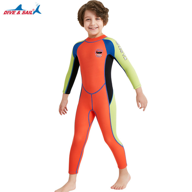 Dive&Sail 2.5MM Neoprene Wetsuits Kids full body Thermal protective Diving Wet suit for Girls Boys Swimming Surf jellyfish skin