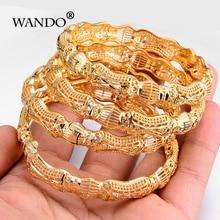 WANDO 4pcs/lot newest gold colour Ethnic bracelet Middle Eastern Indian Wedding women Bangle can open Fancy pattern jewelry B11