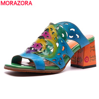 MORAZORA 2019 plus size 42 genuine leather shoes women sandals hollow out high heels sandals multicolour party women slipper