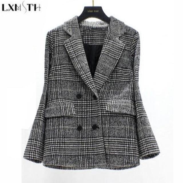 LXMSTH  Winter New Thickening Tweed Woolen Coat Women Vintage Houndstooth Plaid Slim Thin Bblazer Mujer Plus Size tweed jacket