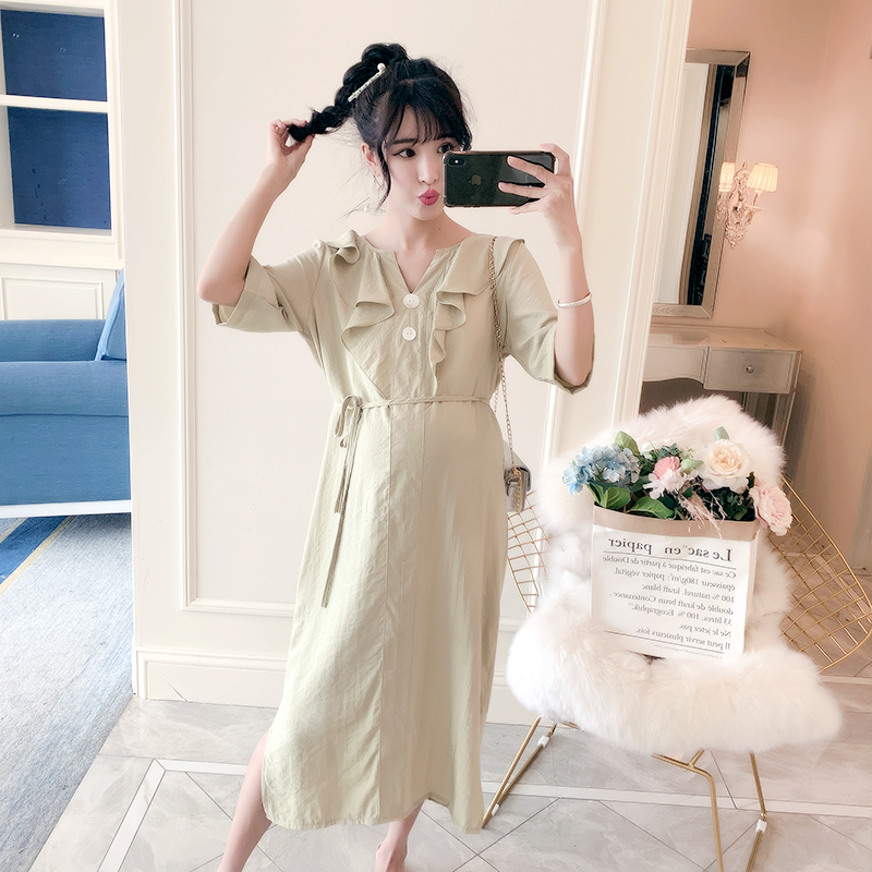 819206a3f261f ... Nursing Clothes for Pregnant Women Pregnancy Clothing · 8809# Summer  Fashion Maternity Long Dress Sweet V Neck Ties Waist Slim Clothes for  Pregnant