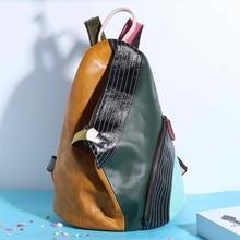 مصمم الظهر حزمة المرأة جلد طبيعي على ظهره الإناث الملونة المرقعة الكتف حقيبة مدرسية أنثوية Bolsas لون عشوائي