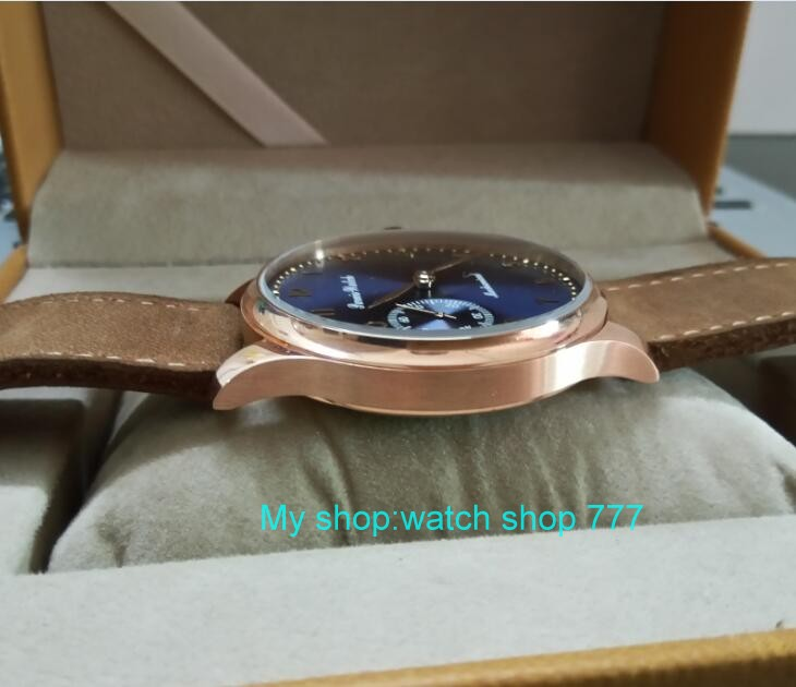 44mm PARNIS blue dial 17 jewels Asian 6497/3600 Mechanical Hand Wind movement men's watch Rose gold case Mechanical watch 323A