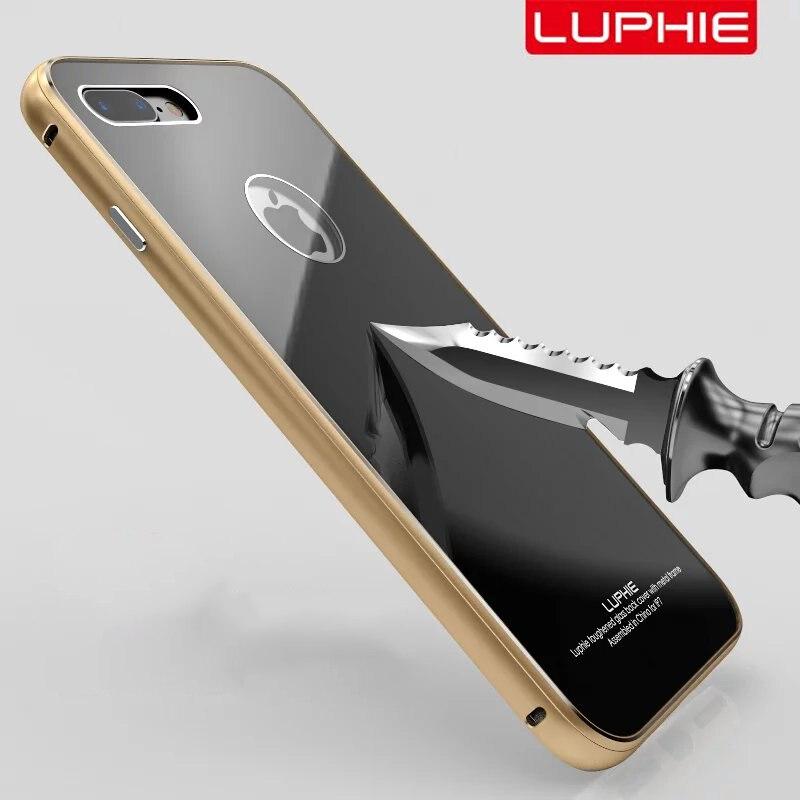 imágenes para Vidrio templado Contraportada Fijó para el iphone 7 Caso original Luphie Caja de Metal para el iphone 7 plus De Aluminio Del Marco Del Metal