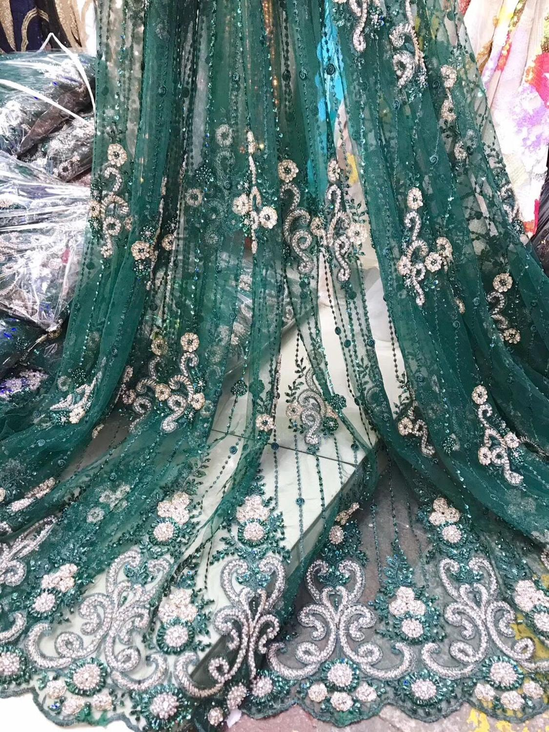 luxury beaded Embroidered Tulle Lace Fabric High Quality JIANXI C 71521 African cord French Lace Fabric