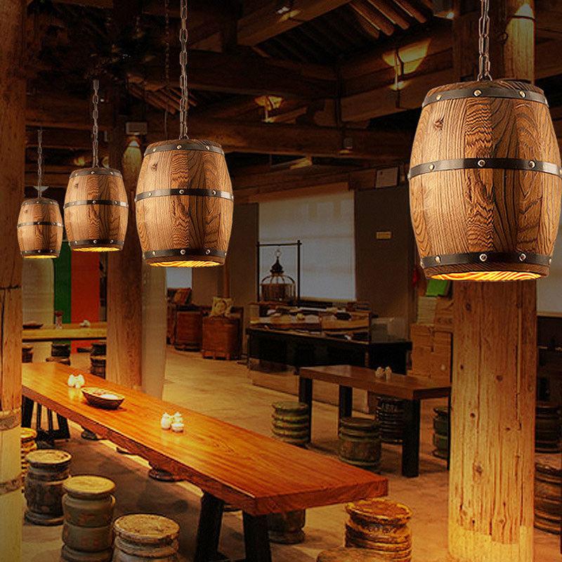 Industriële Houten Wijn Vat Opknoping Armatuur Bar Cafe Licht Plafond Hanglamp