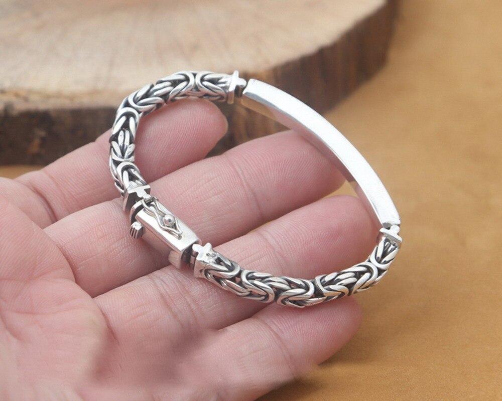 Véritable 925 Bracelet en argent Sterling homme 5mm épaisseur personnaliser longueur Punk Rock Vintage croix Bracelet Mans bijoux S120