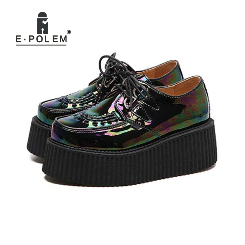 Retro Reflective Harajuku Muffin Shoes Female British College Round Toe Lace Up Casual Shoes Leisure All-Match Platform ShoesRetro Reflective Harajuku Muffin Shoes Female British College Round Toe Lace Up Casual Shoes Leisure All-Match Platform Shoes