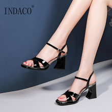 Women Shoes Summer Thick Heel Sandals Black White High Ladies Block Heels
