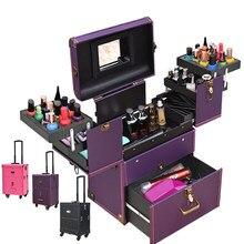 b673c778c Nueva maleta con ruedas, caja de cosméticos, caja de herramientas para  maquillaje, caja · 8 colores disponibles