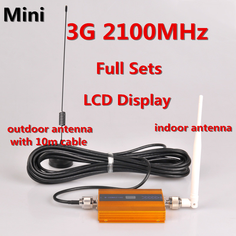 LCD Display !!! Mini W-CDMA 2100Mhz GSM Signal Booster 3G Repeater WCDMA Mobile Signal Repeater 3G Cell Phone Amplifier +Antenna