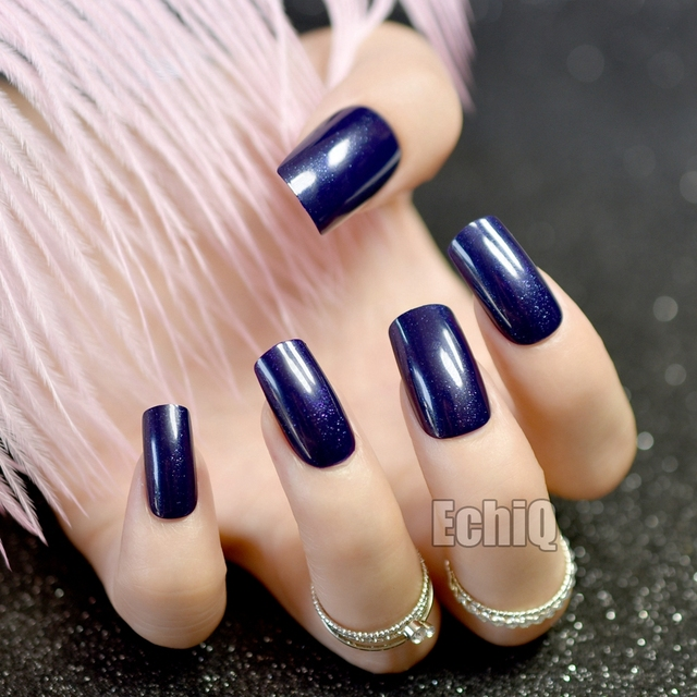 Fashion Flat Fake Nails Navy Blue Acrylic False Nails Shiny Glitter