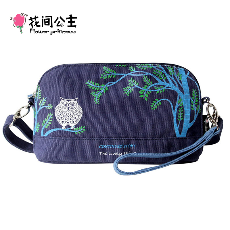 Flower Princess Brand 2016 Original Fashion Owl Canvas Shoulder Bag Women Vintage Girl Retro Summer Messenger Bag SX001