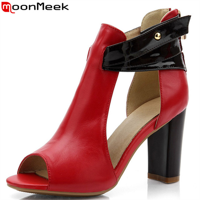MoonMeek new fashion women sandals sexy high heels zip genuine leather shoes woman platform ladies wedding shoes drop shipping