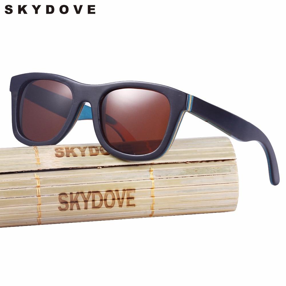 SKYDOVE di Lusso In Legno di Skateboard Occhiali Da Sole Vintage Black Frame di Legno Occhiali Da Sole Polarizzati Donne degli uomini di Bambù di Legno Occhiali Da Sole