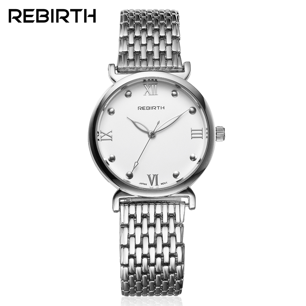 REBIRTH Silver Women Stainless Steel Watches Roman Case Simple Quartz Female Clock Petal Pointer High Quality Ladies Dress Watch mini stainless steel handle cuticle fork silver