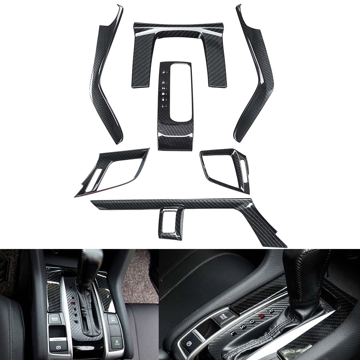 7pcs/set Carbon Fiber Gear Box Panel Cover Dashboard Panel Gear Side Moulding Cover Trim for Honda for Civic 10th 2016 2017