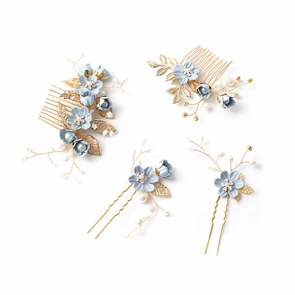 1 предмет, модный роскошный синий цветок расчески для волос повязка на голову Выходные туфли на выпускной бал свадебные аксессуары для волос, золотистый листья украшение для волос шпильки