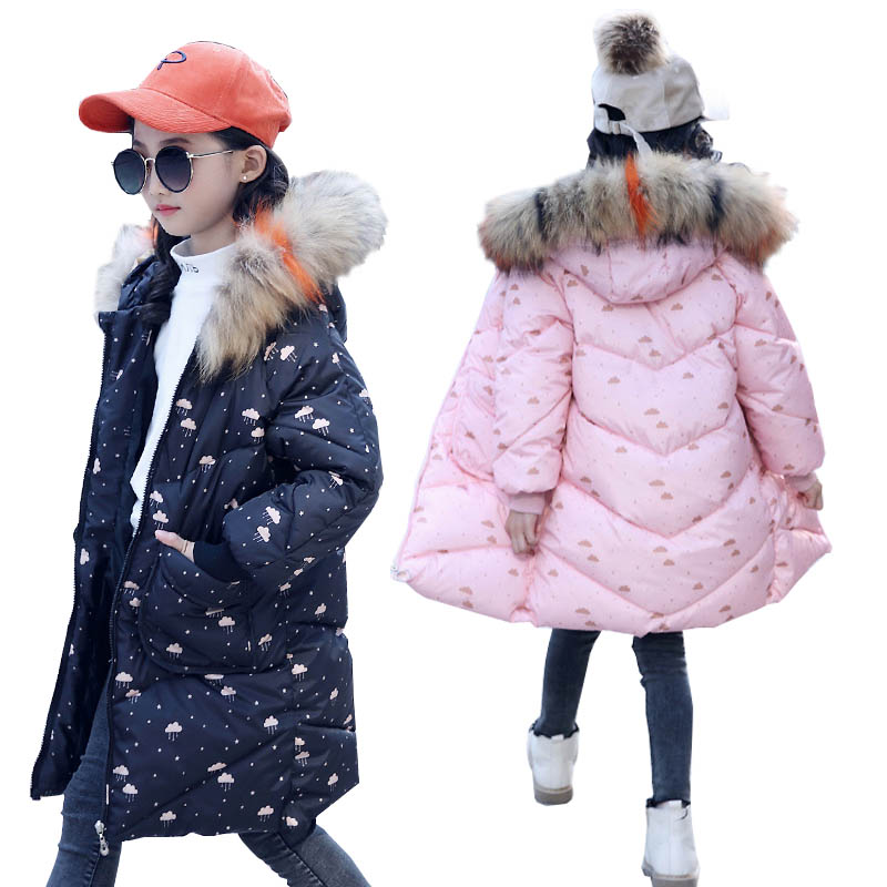 Girls Winter Coats for Kids Outerwear Fur Collar Print Cotton Clothes Down Jacket Teenage Girls Jackets Thick Children Clothing недорго, оригинальная цена