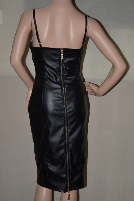 4c71ceb93af New Fashion Women PU Leather Bodycon Dress Sexy Sleeveless Black Faxu Leather  Dresses Celebrity Casual Bandage Dress KIM-in Dresses from Women s Clothing  on ...