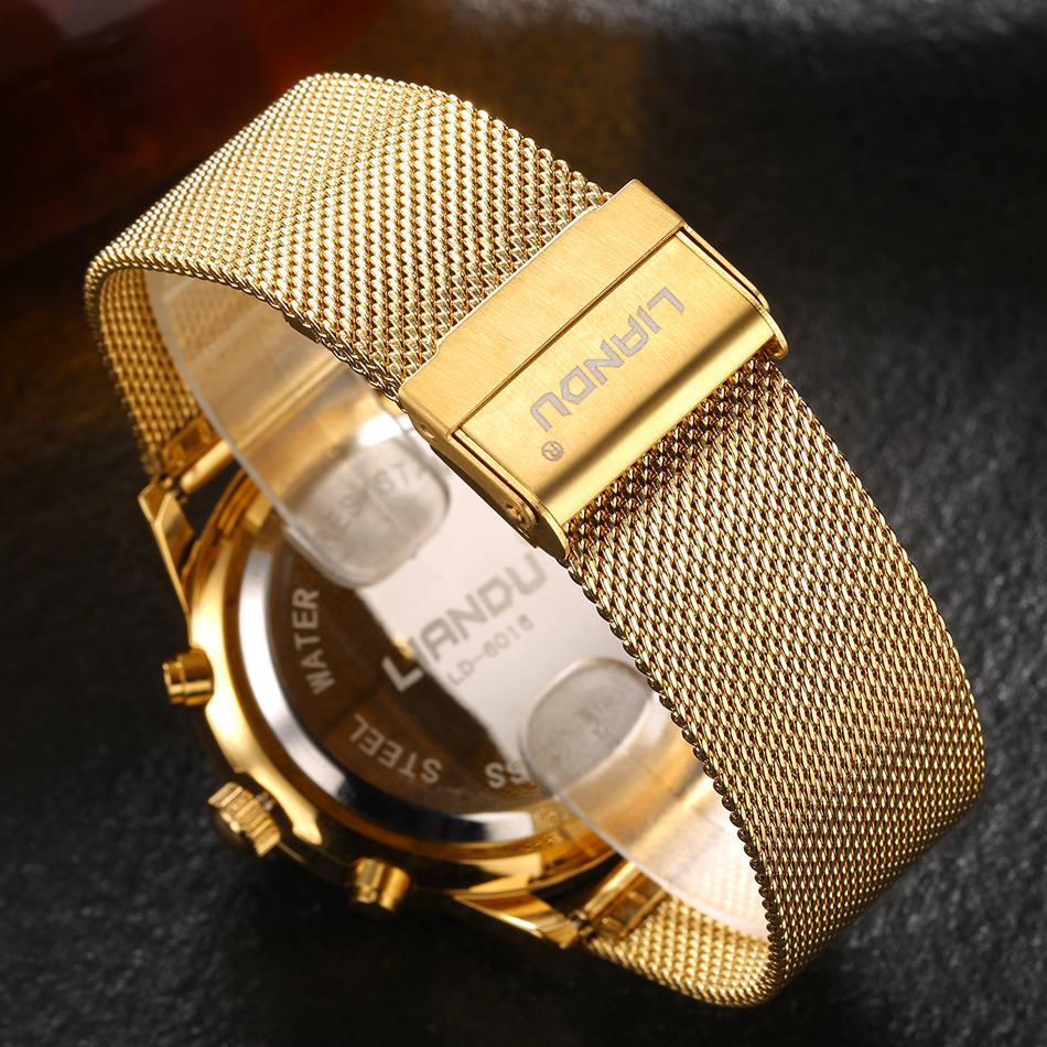 HTB1V7H4QXXXXXaJapXXq6xXFXXXc - LIANDU Gold Black Luxury Fashion Watch for Men