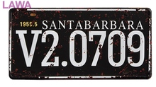 1 pc Santa Barbara US car License plaques Tin Plate Sign wall man cave Decoration Poster metal vintage retro shabby decor