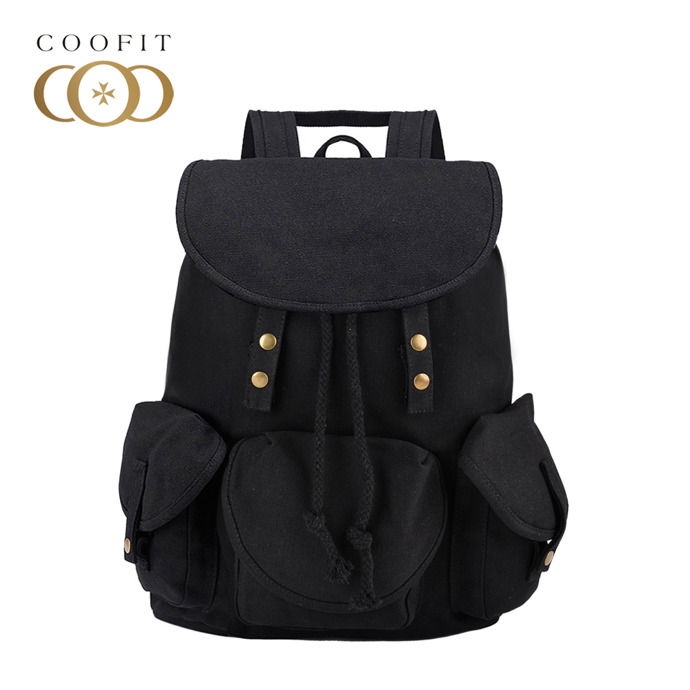 Casual Vintage Canvas Backpack For Women Unique Drawstring Flap Bags Preppy Style Rucksacks for girls Black Button School Bags street style stylish buckle embellished multi way black canvas backpack for women