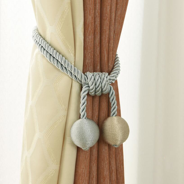 Curtains Tiebacks Gray Hanging Ball Home Decoration Tassels Curtain For Modern Living Room Purple Accessories