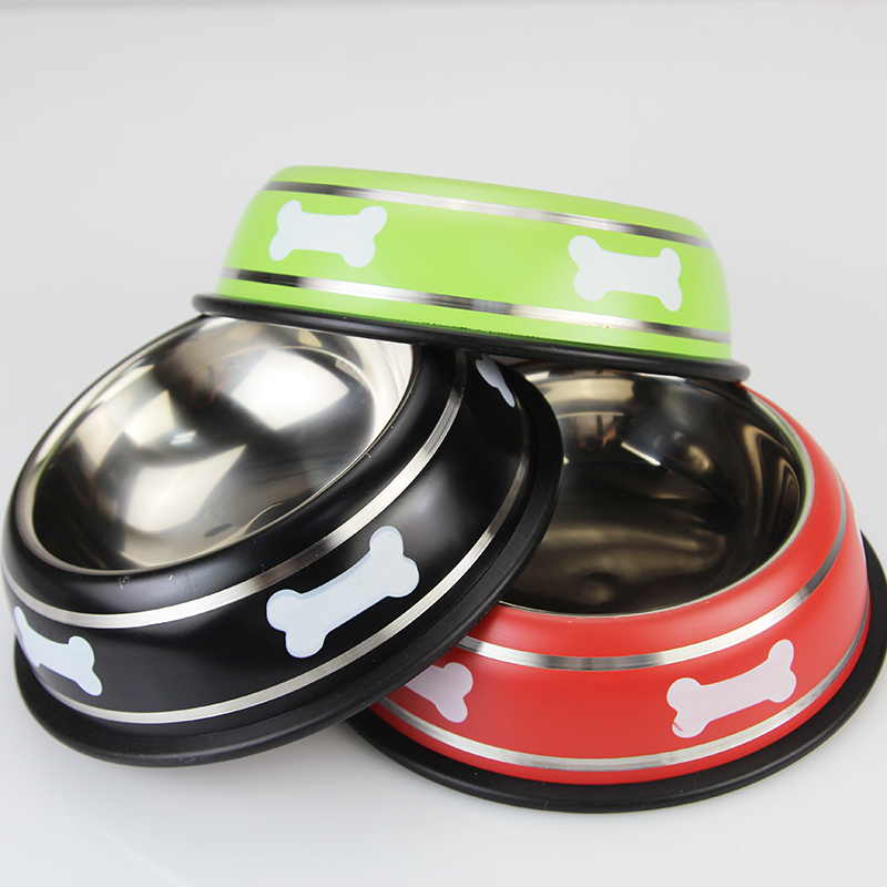 Top-Quality Colorful Stainless Steel Dog Bowl Cat Bowl Puppy Food Drink Water Dish Bowl Pet Feeding Bowl Anti Slipping