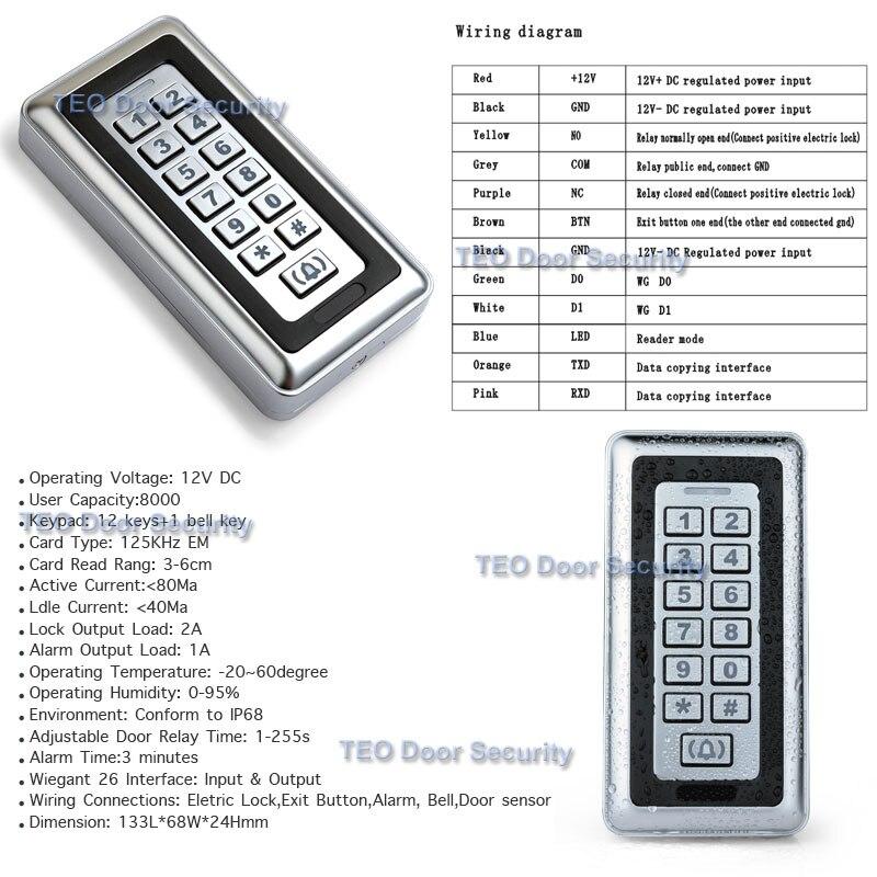 Нержавеющая сталь металлический корпус IP68 всепогодный EM ID Клавиатура Автономный Клавиатура доступа Wiegand 26 вход и выход 125 кГц