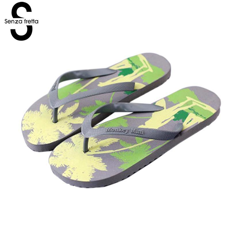 Senza Fretta 2018 New Summer Men Flip Flops Fashion Coconut Tree Prient Men Flip Flops Beach Non-slip Mens Sandals Plus Size senza fretta non slip flip flops men slippers flip flops men sandals casual summer flip flops breathable beach shoes sandals