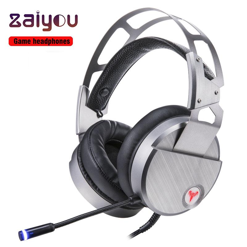 Gaming Headphone 7.1 Surround Vibration Wired Headphones with Microphone for Computer Earphones Universal bass metal Headphones each g1100 shake e sports gaming mic led light headset headphone casque with 7 1 heavy bass surround sound for pc gamer