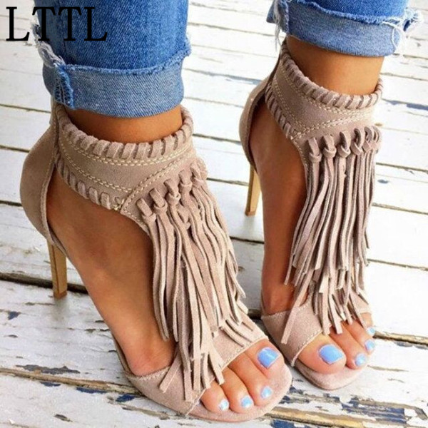 ФОТО Fashion Summer Suede Leather Fringe Sandal Ankle Boots Thin High Heels Open Toe Shoes Tassel Gladiator Sandals Black Woman Mujer
