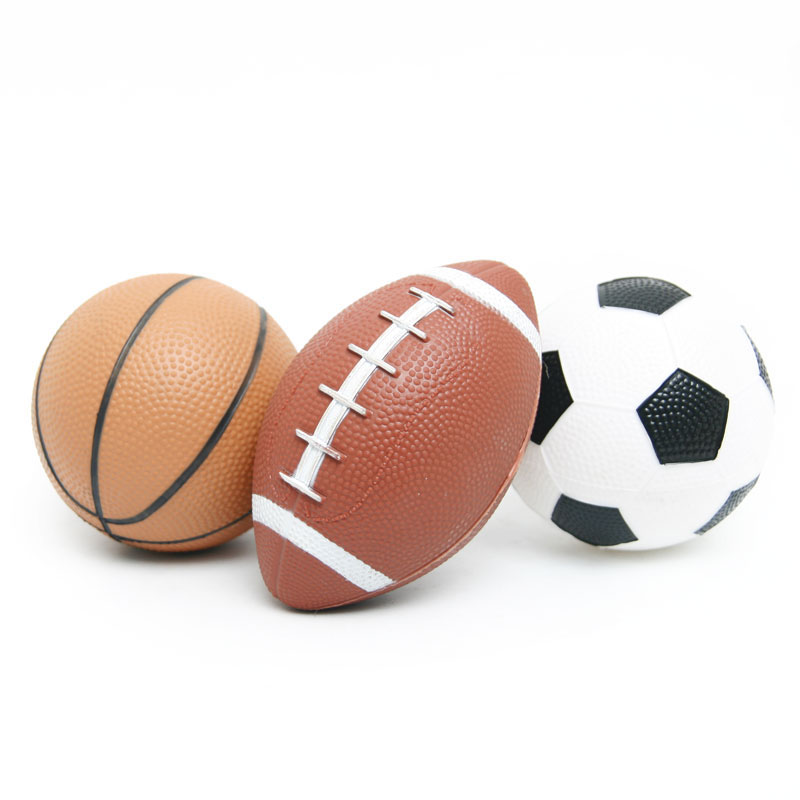 3pcs Kid font b Toy b font Soft Rubber Small Rugby Soccer Basketball Children American football